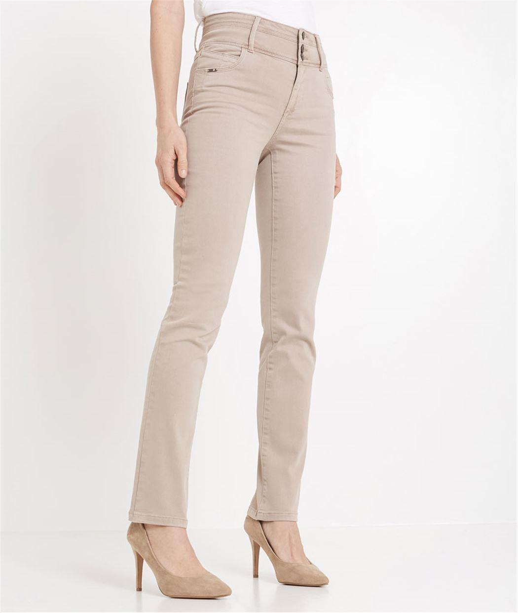 Pantalon femme droit taille haute BEIGE