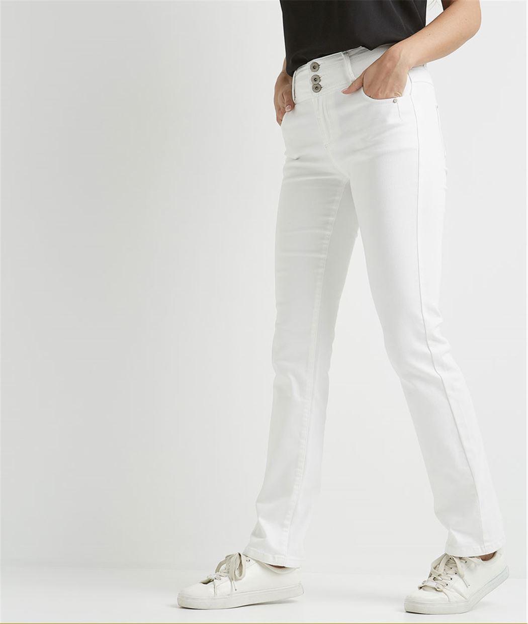 Pantalon femme droit taille haute BLANC OPTIQUE