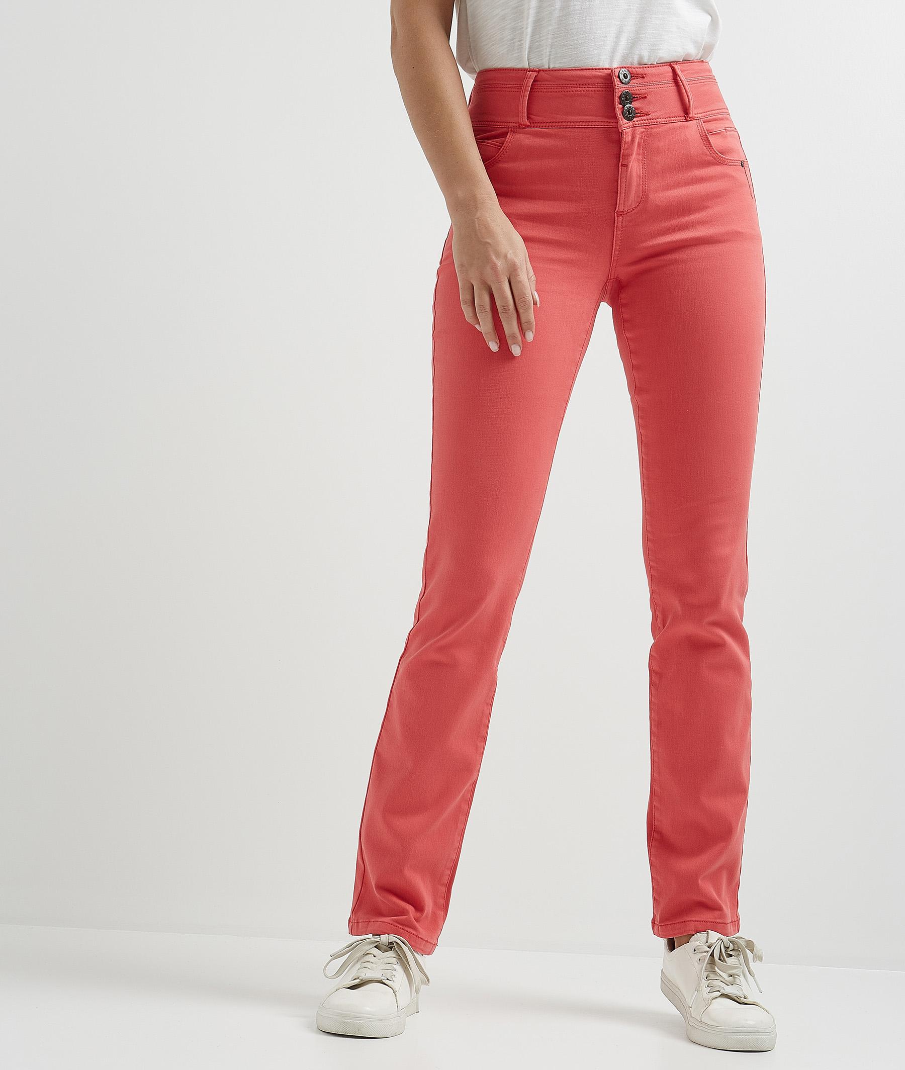 Pantalon droit taille haute de couleur CORAIL