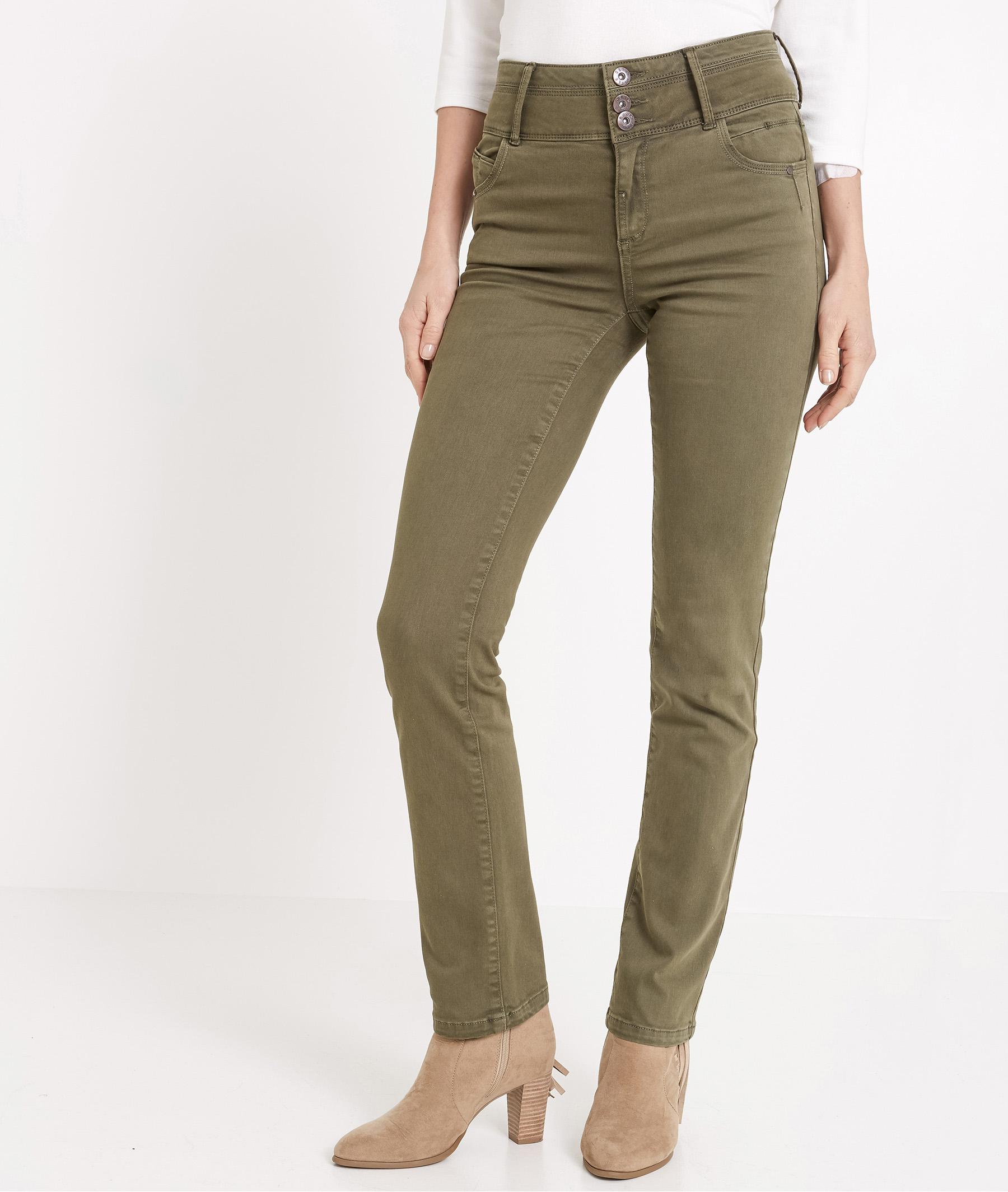 Pantalon femme droit taille haute KAKI
