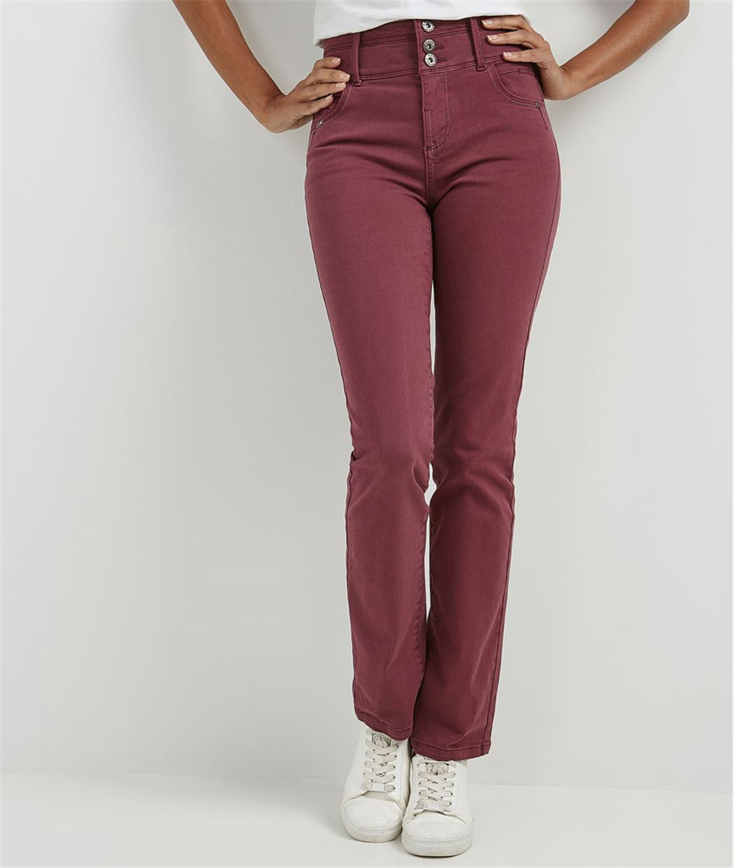 Pantalon droit taille haute de couleur MYRTILLE