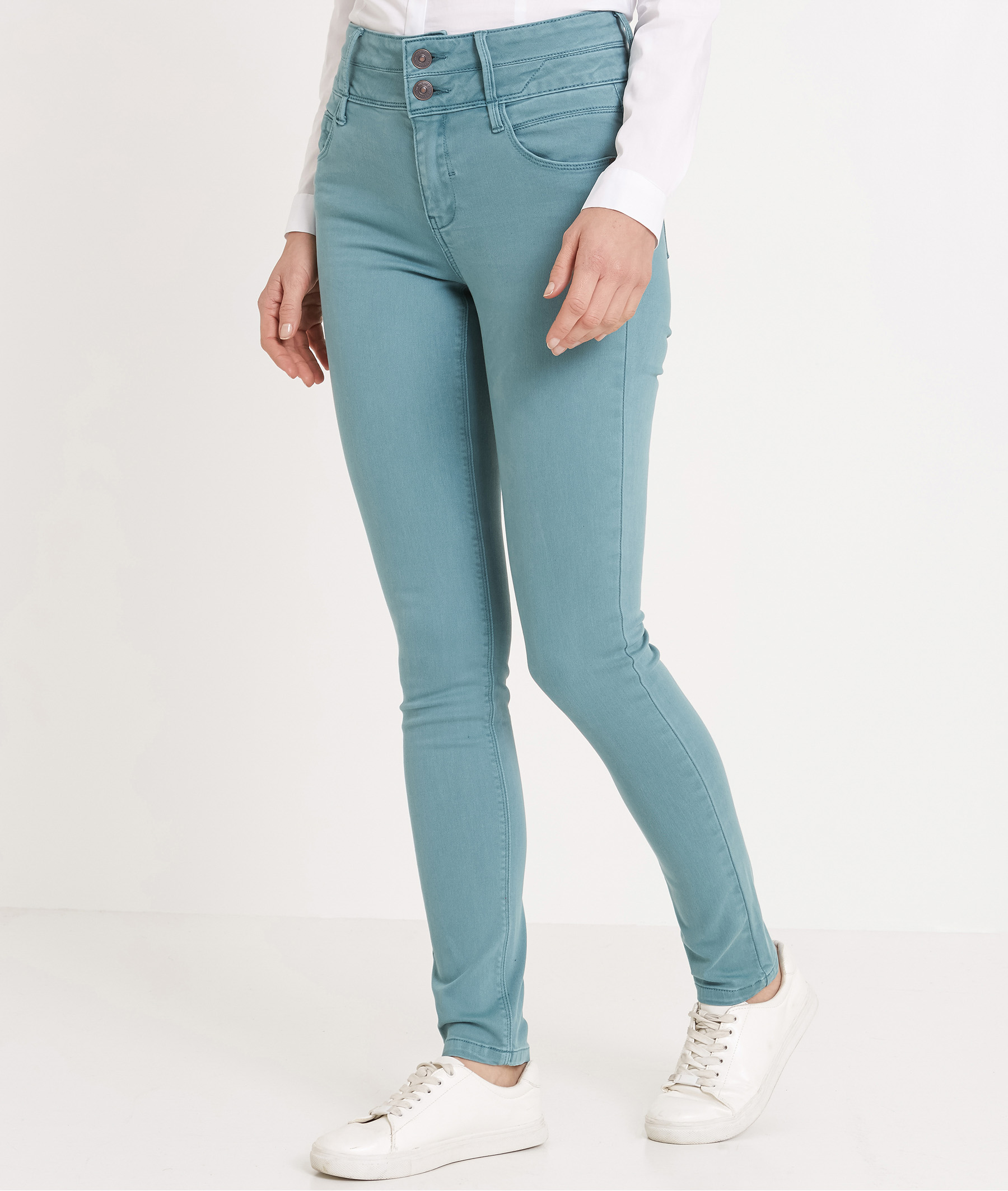 Pantalon femme slim taille haute BLEU