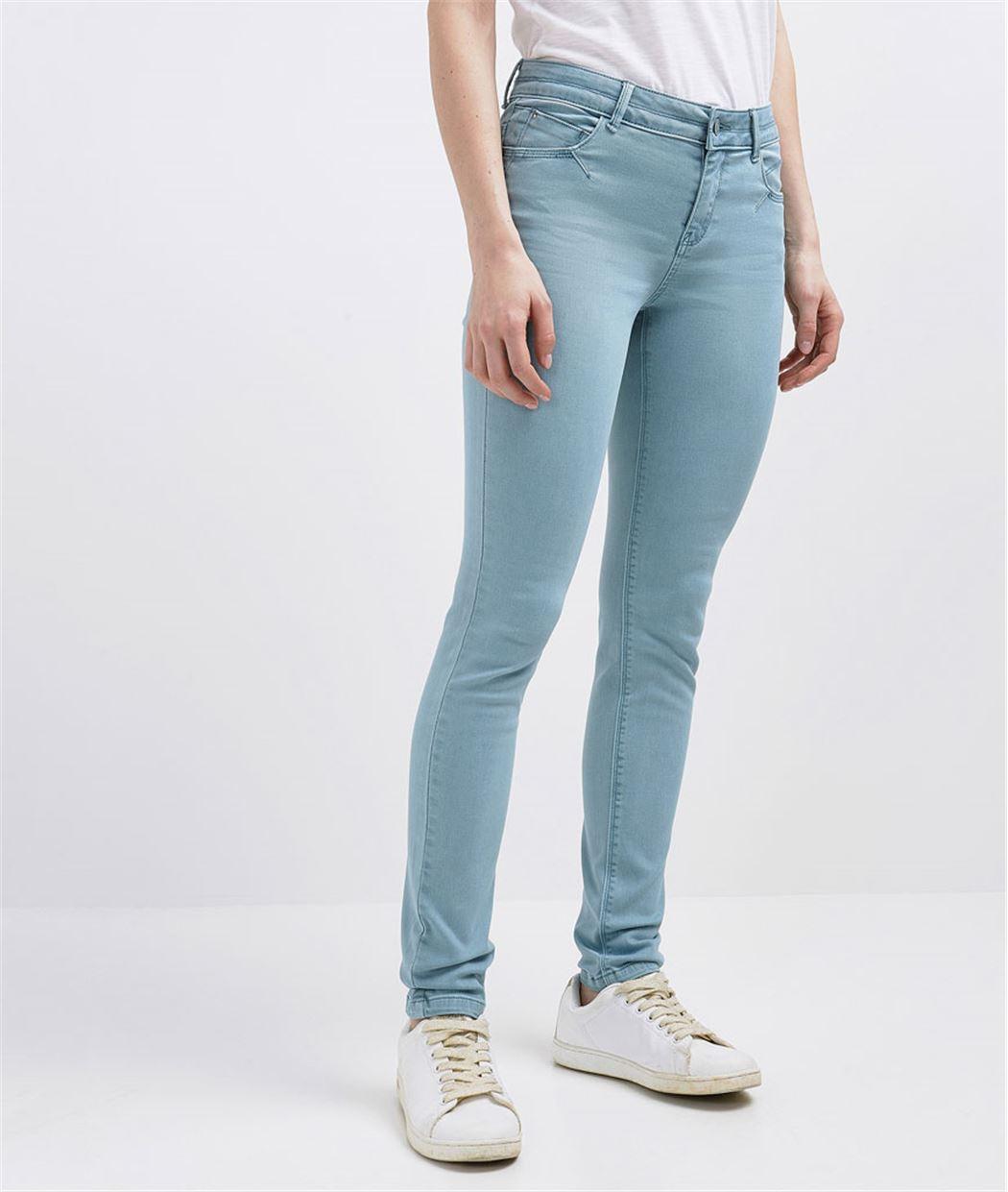 Pantalon femme slim push up couleur LAGON