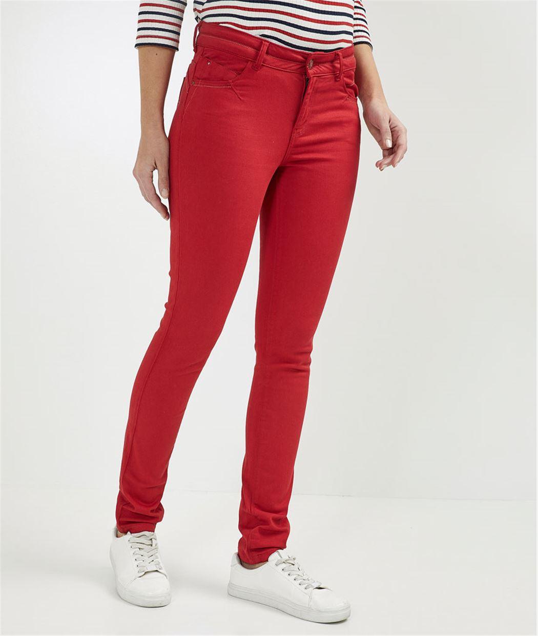 Pantalon femme slim push up couleur ROUGE