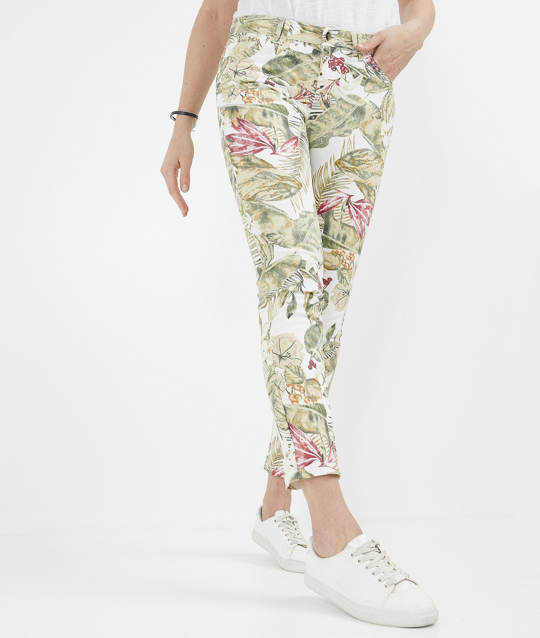 Pantalon femme raccourci uni ECRU