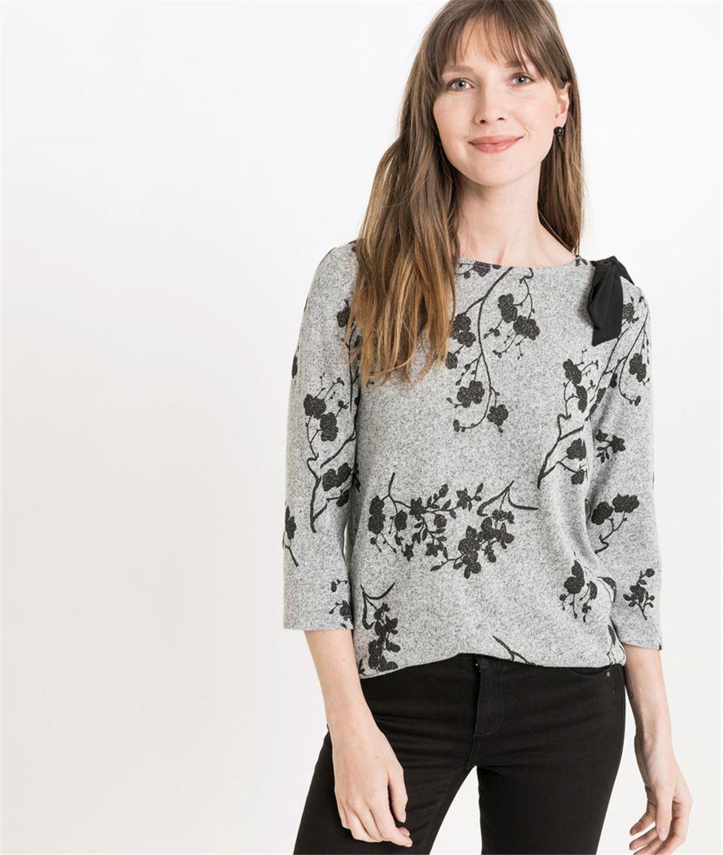 T-shirt femme manches 3/4 avec ruban GRIS