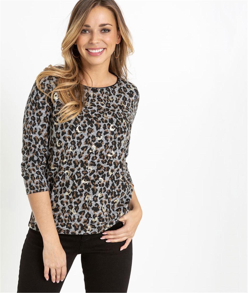 T-shirt femme manches 3/4 léopard GRIS FONCE