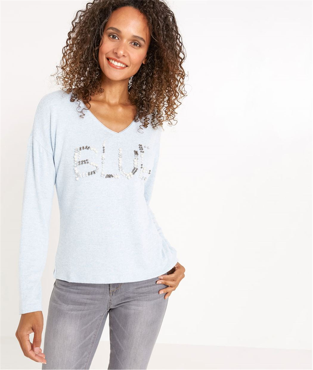 T-shirt femme manches longues bleu ciel BLEU