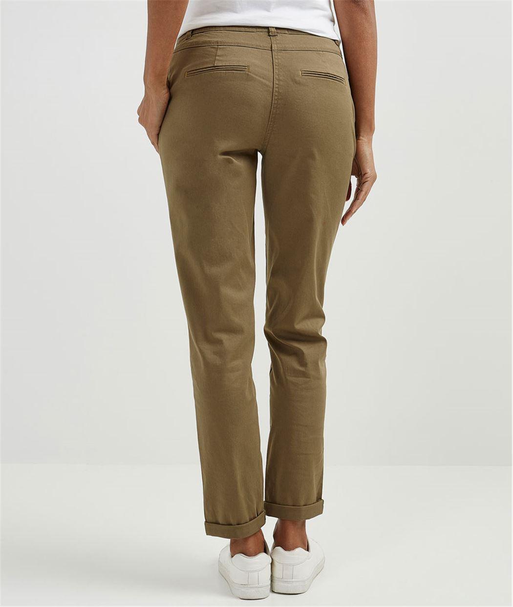 Pantalon femme chino avec ceinture KAKI - Grain de Malice f0c732aa435