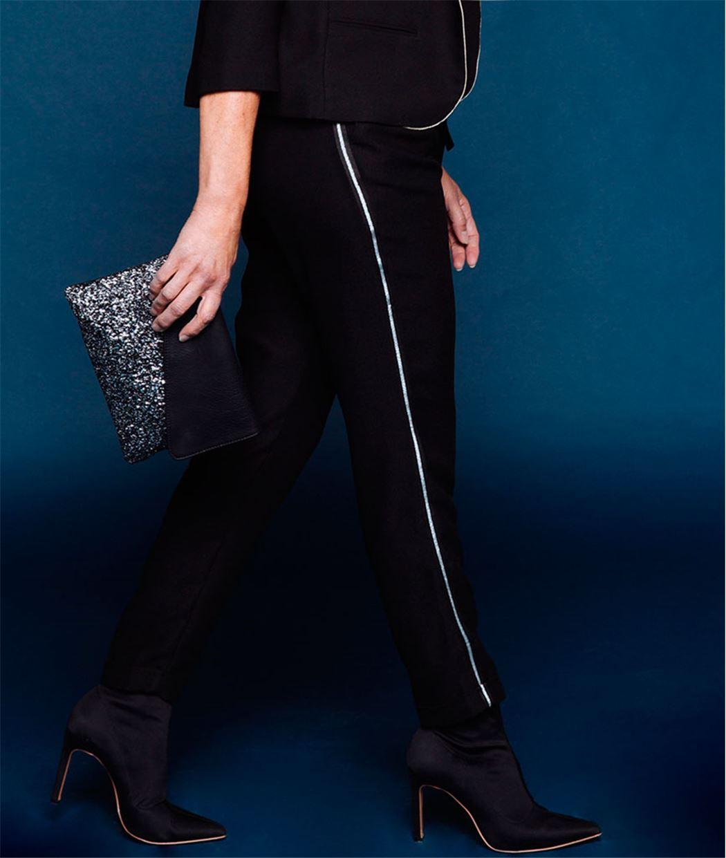 Pantalon femme fluide noir avec ceinture NOIR