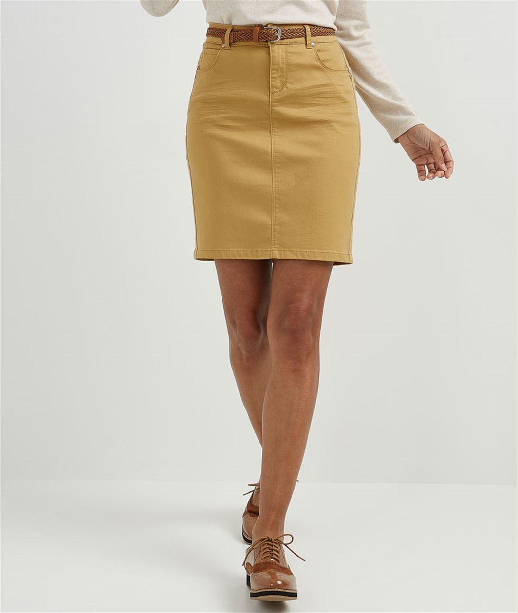 Jupe femme droite en jean de couleur CURRY