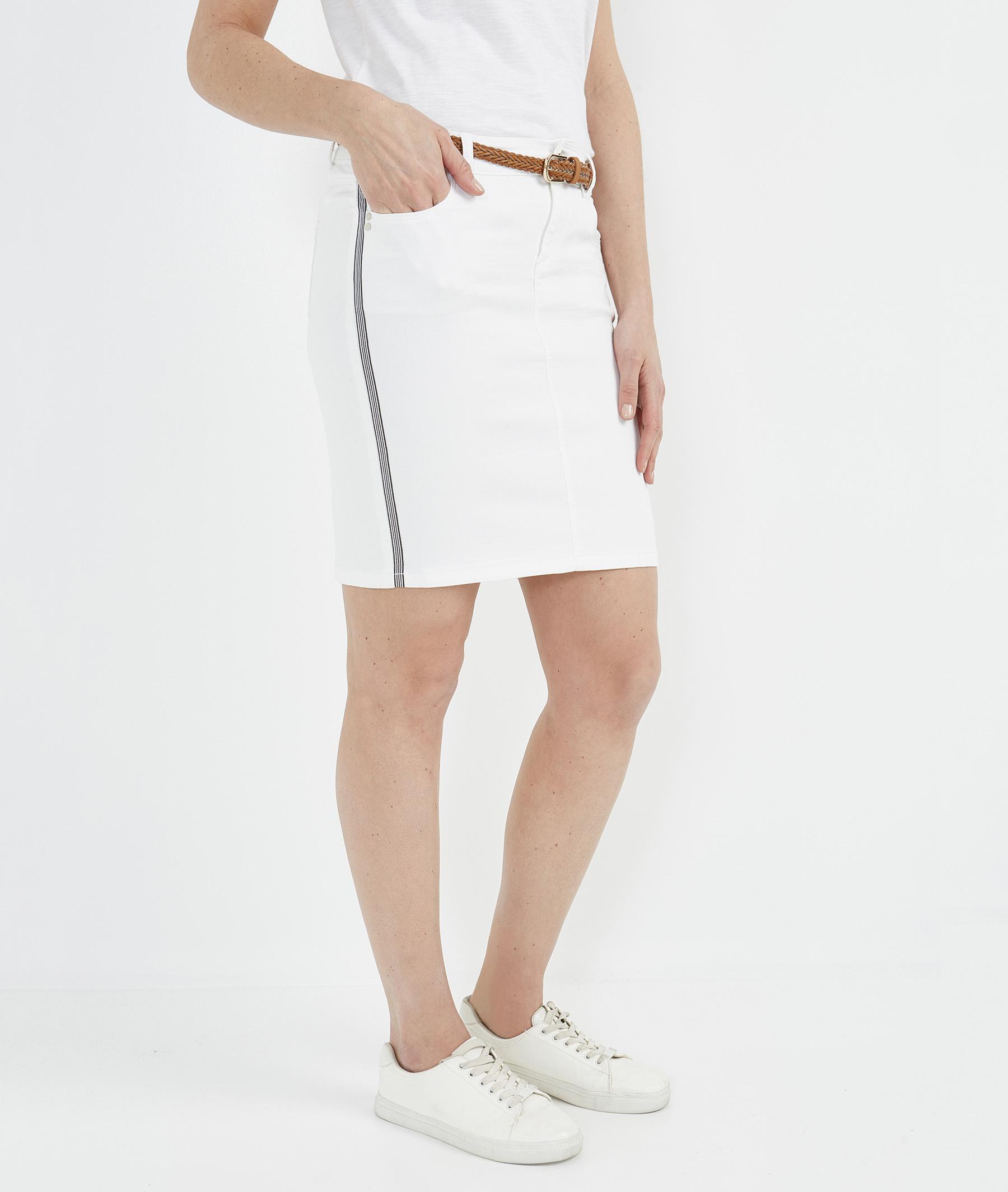 Jupe femme droite en jean de couleur BLANC