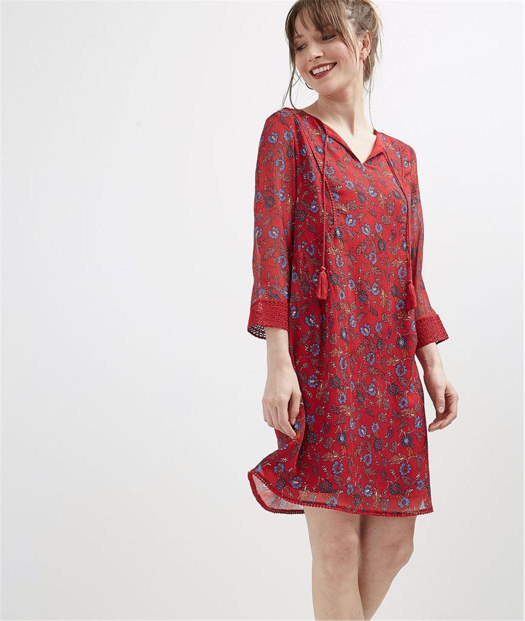 Robe femme imprimée avec pompons ROUGE