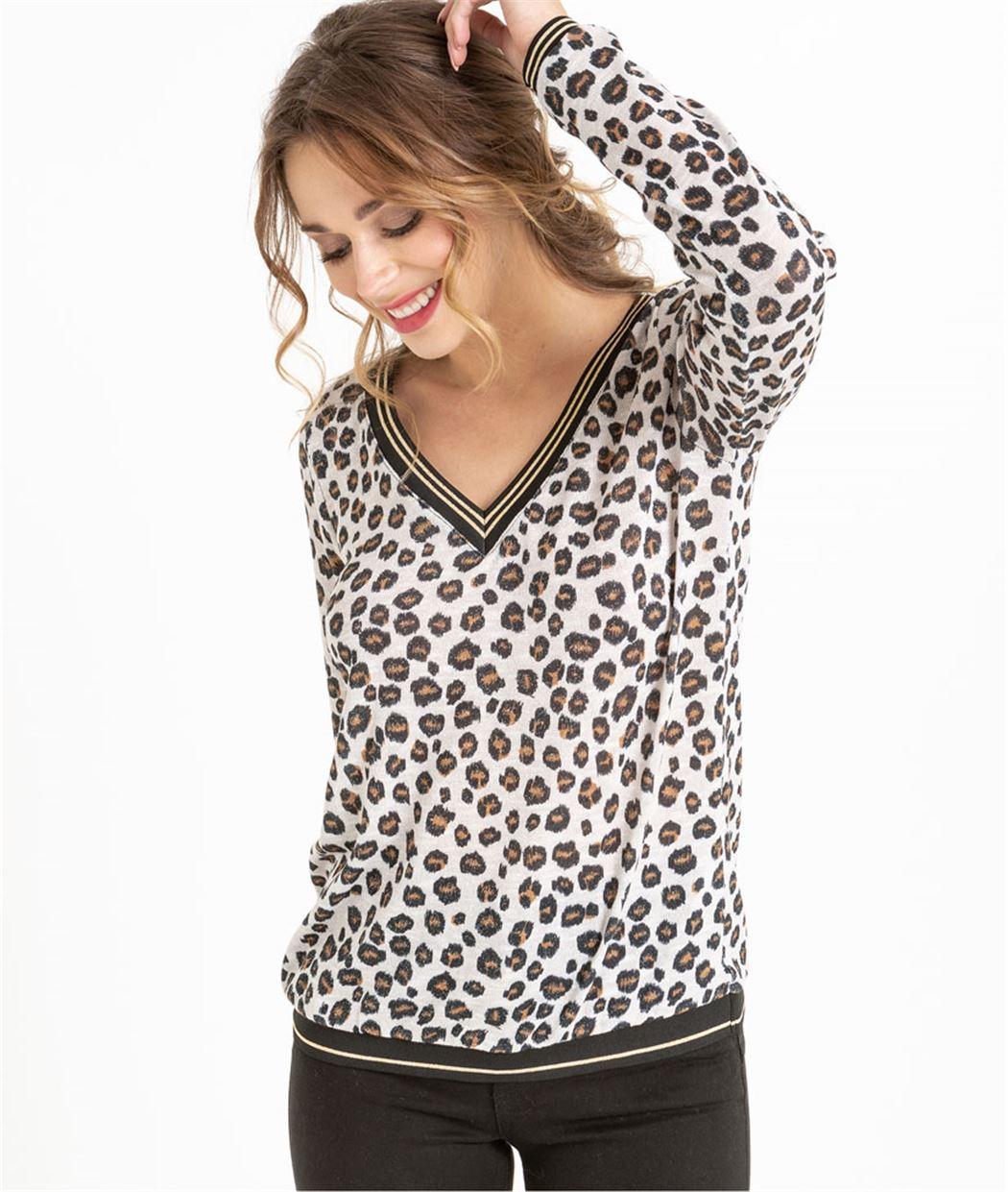 Pull femme léopard col V BEIGE