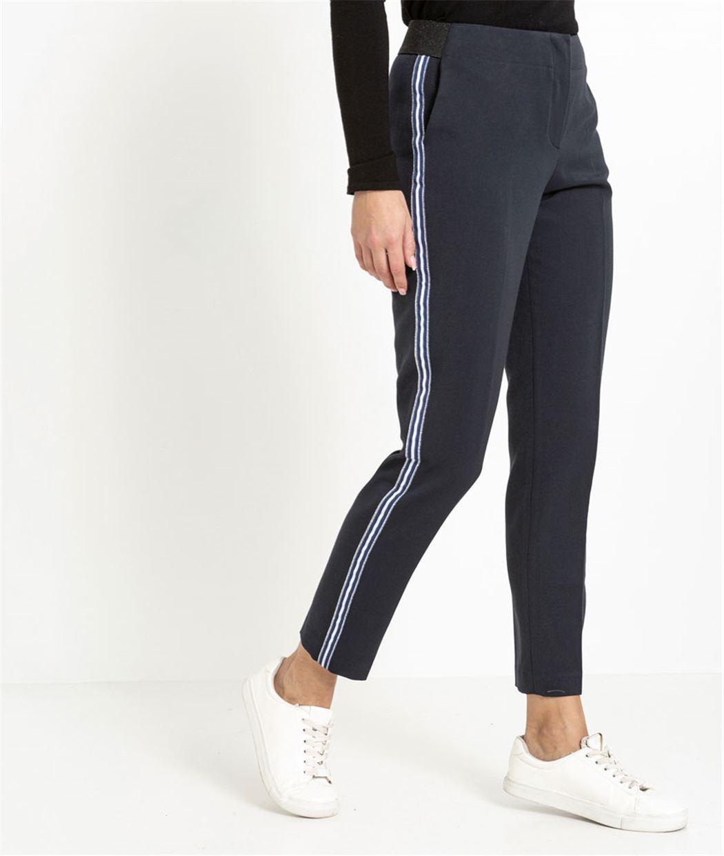 Pantalon femme droit avec bandes rayées MARINE