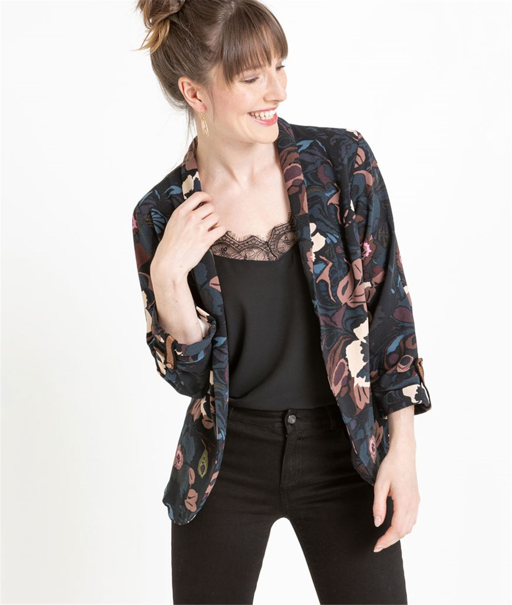 Veste tailleur femme imprimée BLEU