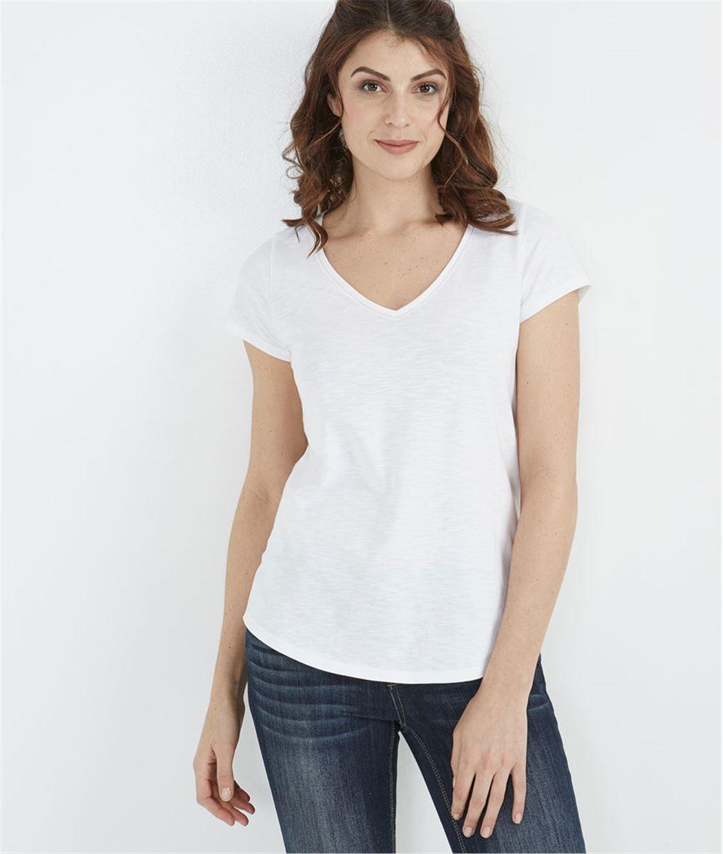 T-shirt femme basique BLANC