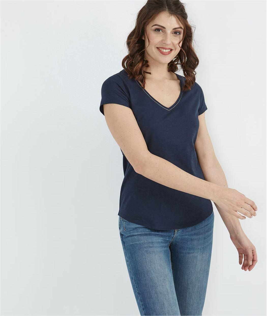 T-shirt femme basique MARINE
