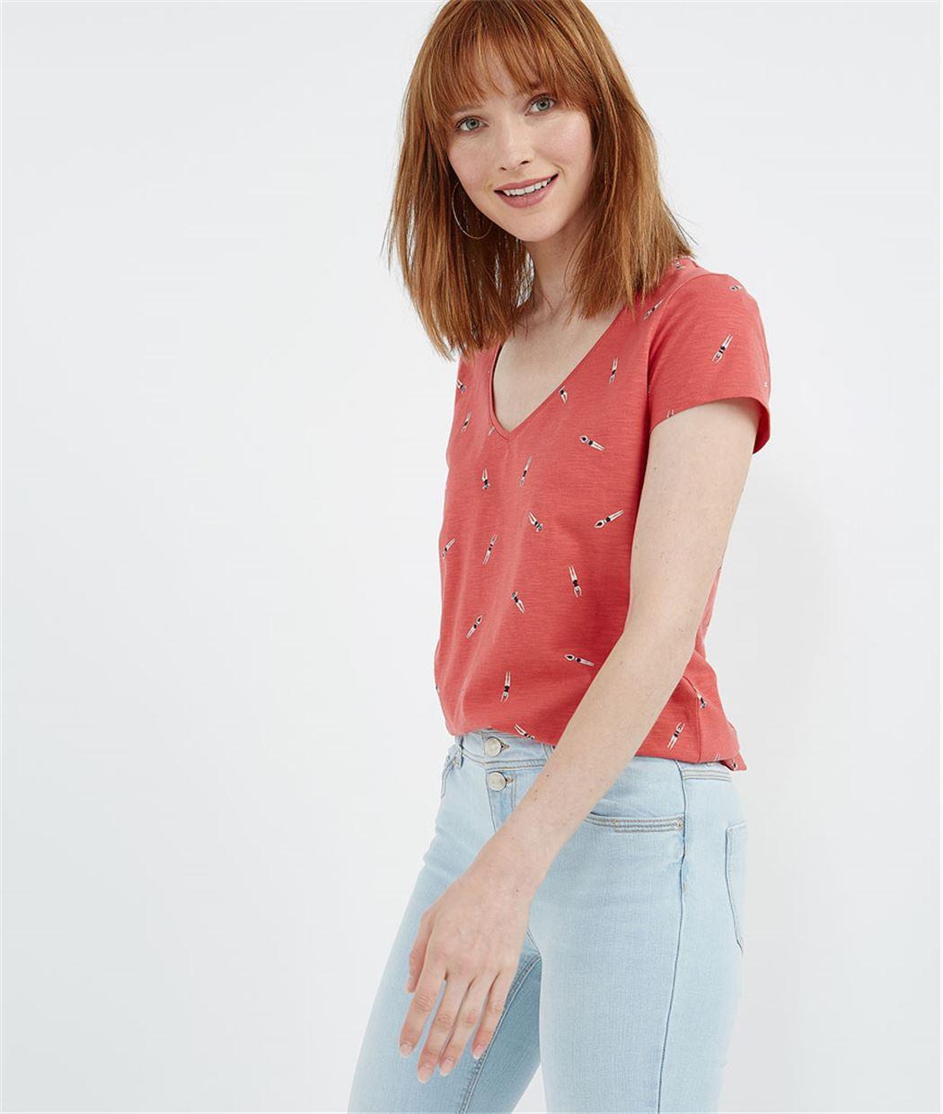 T-shirt femme basique avec imprimés CORAIL