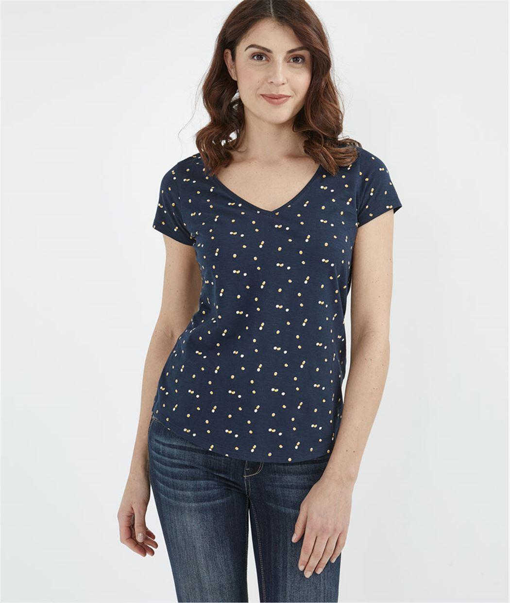T-shirt femme basique avec imprimés MARINE