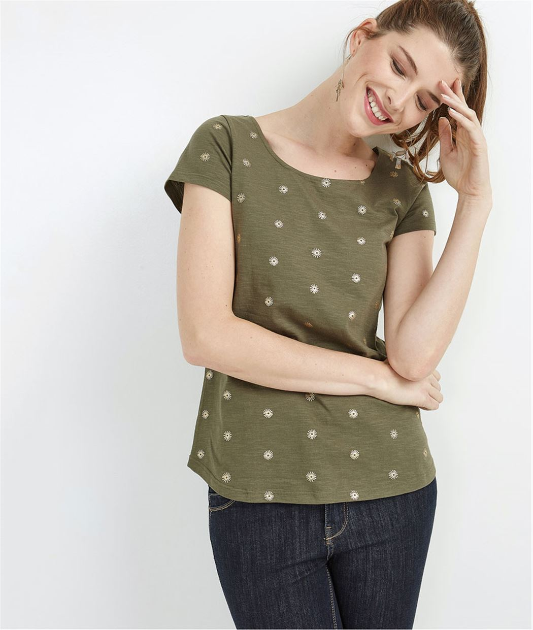 e3a6fc6024d T-shirt femme imprimé décolleté dos KAKI - Grain de Malice