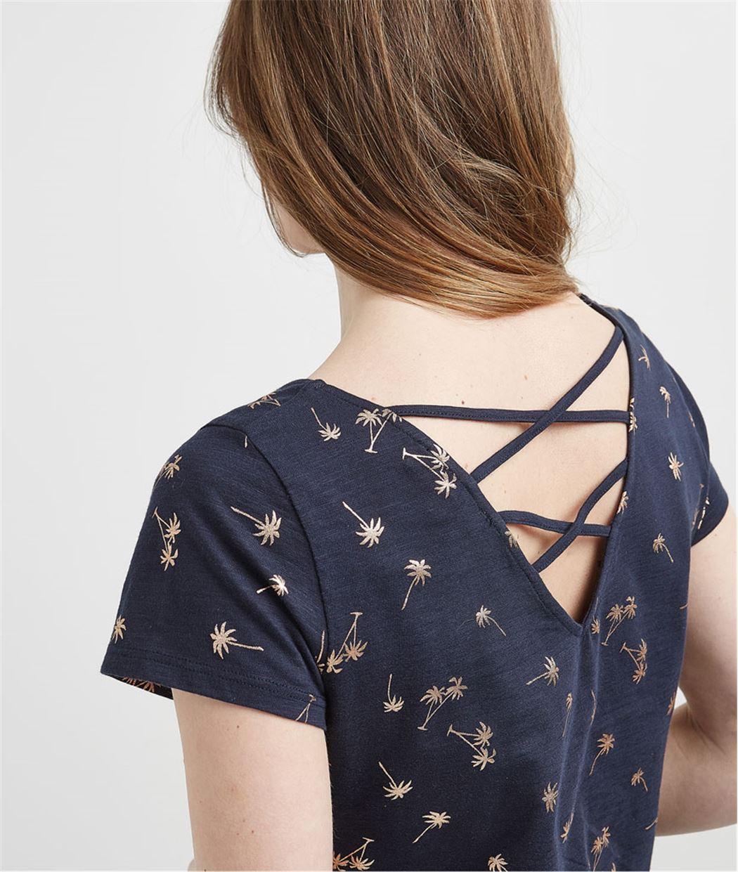 T-shirt femme imprimé décolleté dos MARINE