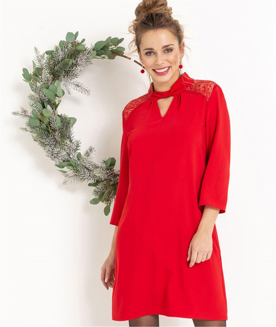 Robe femme rouge habillée avec dentelle ROUGE