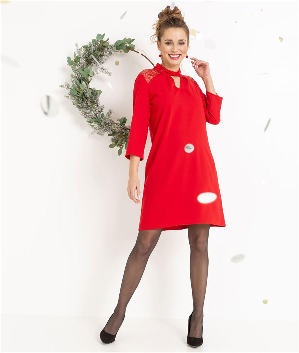 0a67ad01639dd Robe femme rouge habillée avec dentelle ROUGE - Grain de Malice