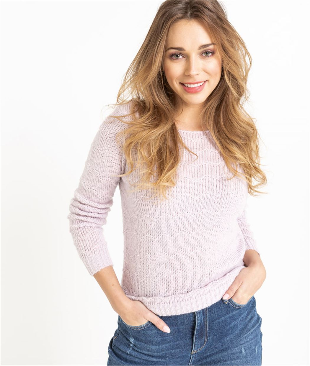 Pull tricot fantaisie LILAS