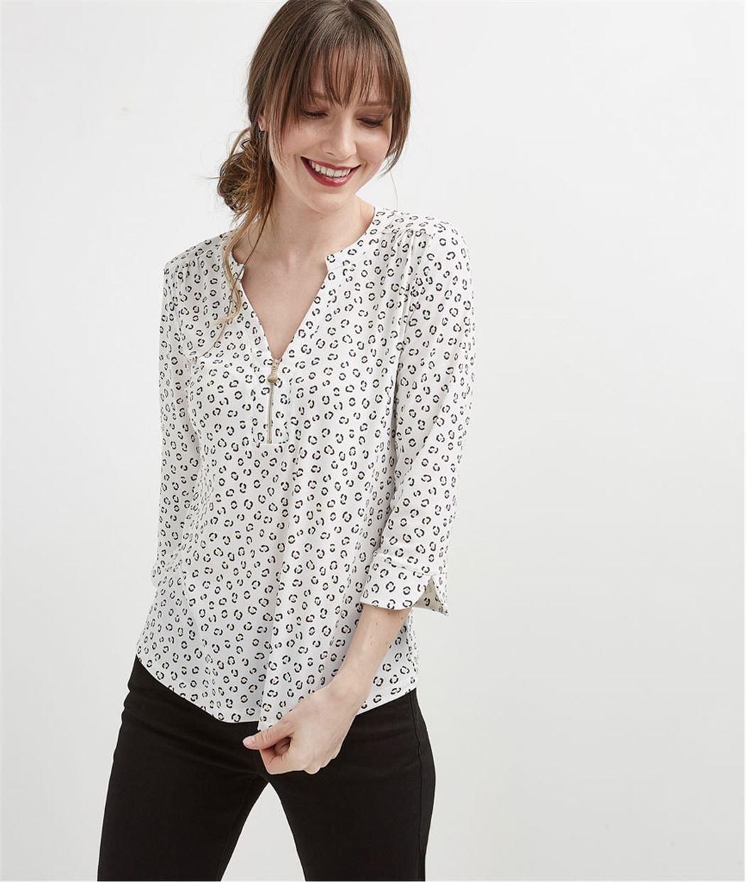 T-shirt femme manche 3/4 avec zip ECRU