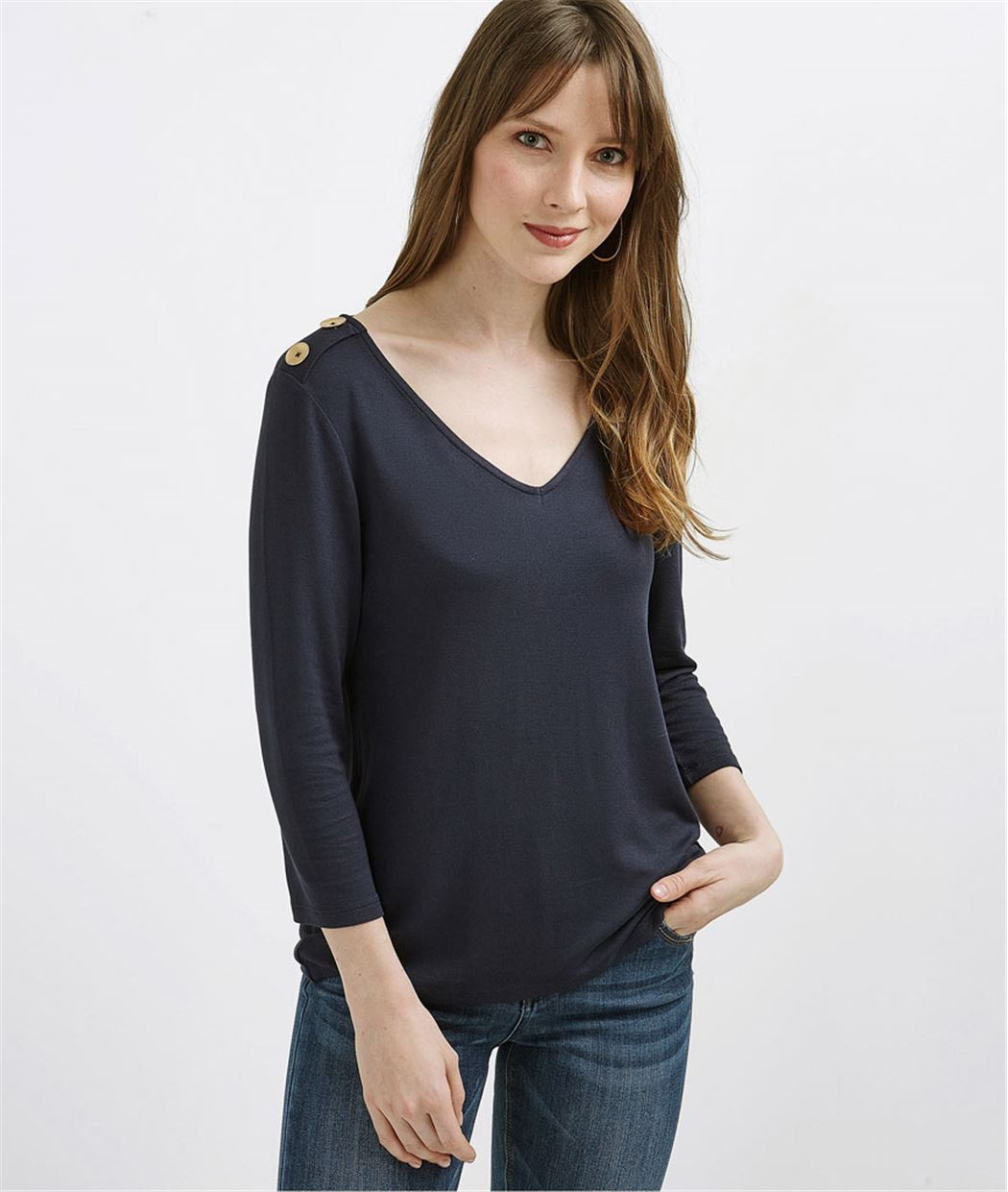 T-shirt manches 3/4 avec boutons MARINE