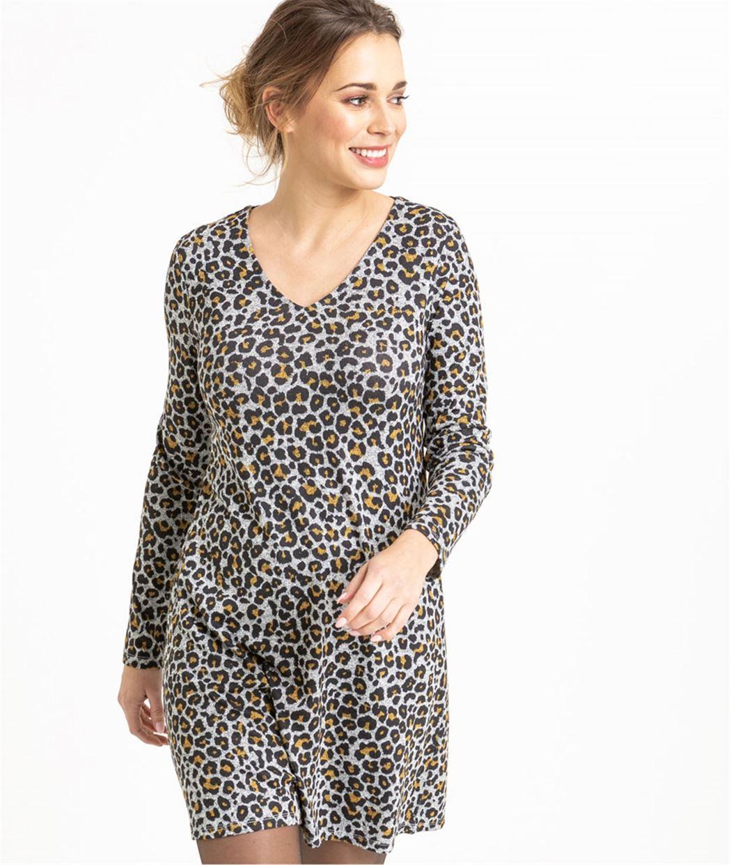 Robe en maille léopard GRIS