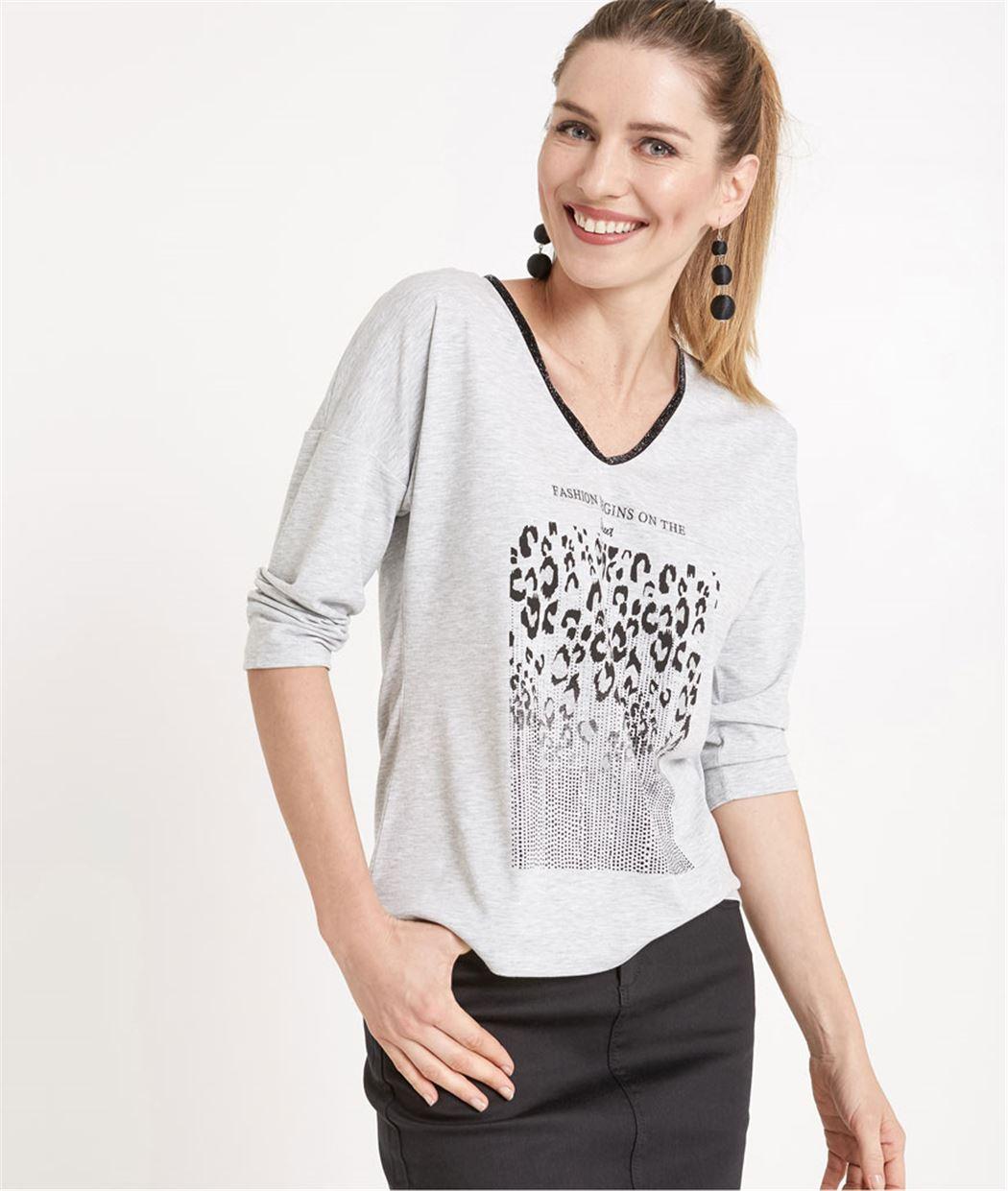 T-shirt femme gris avec motif léopard GRIS