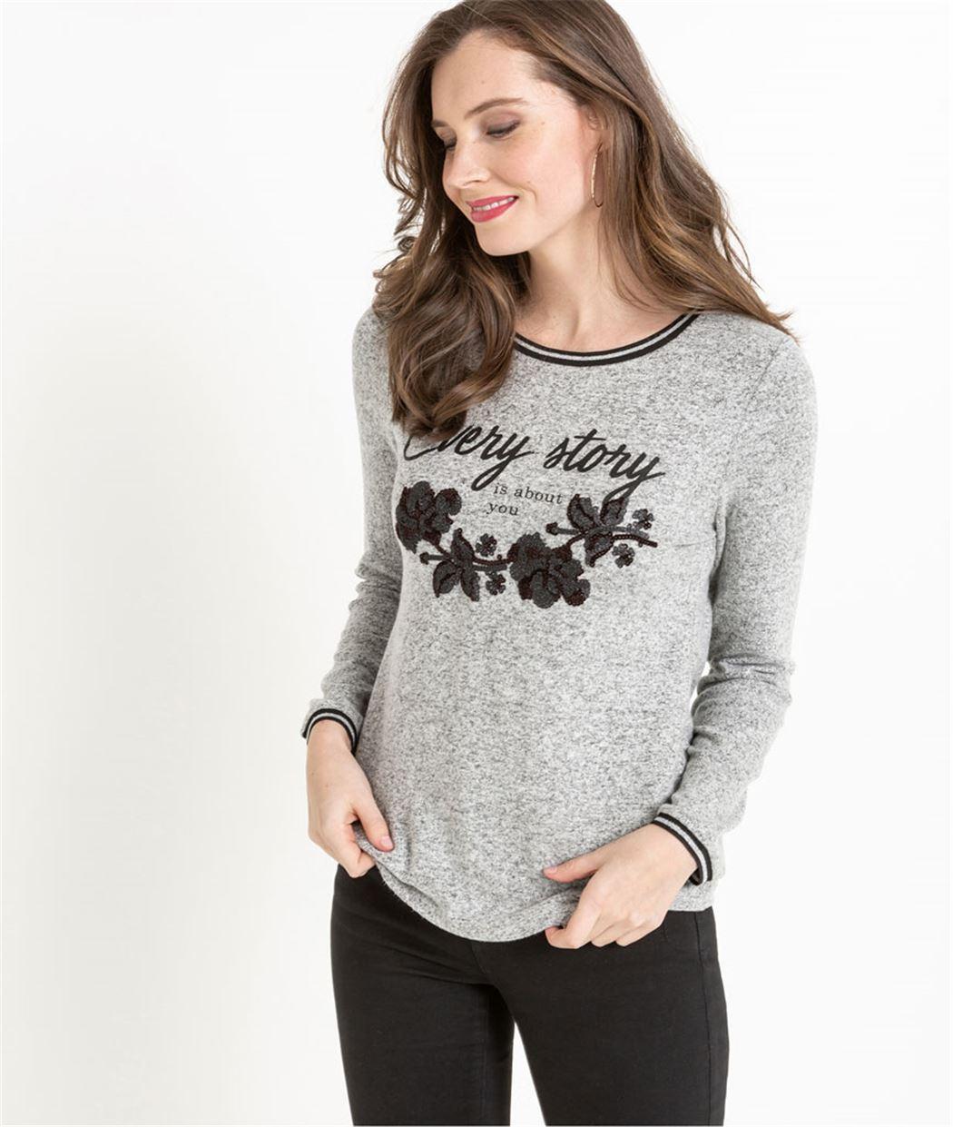 T-shirt gris moucheté avec motif fleuri GRIS
