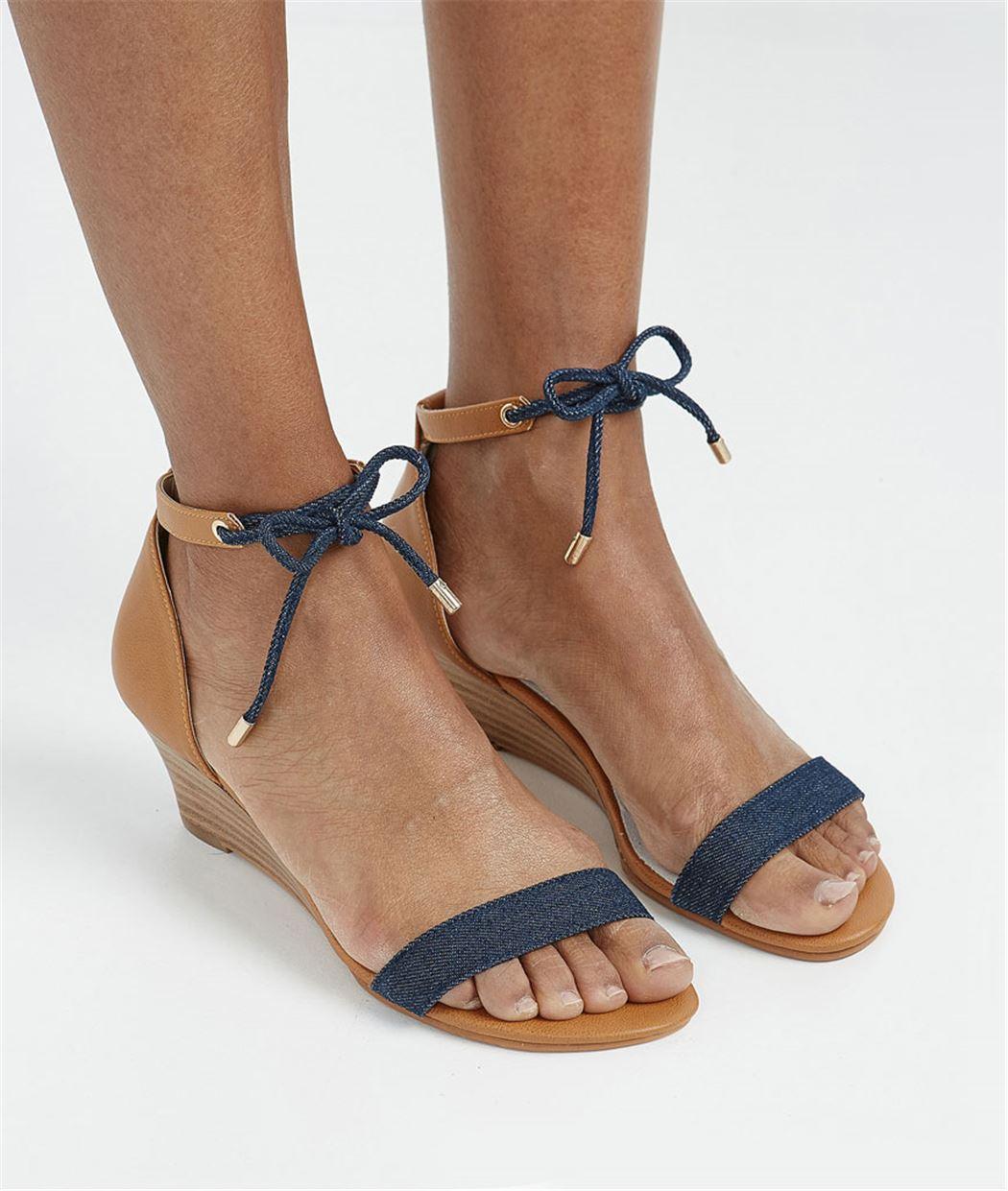 Sandales femme compensées effet jean BLEU