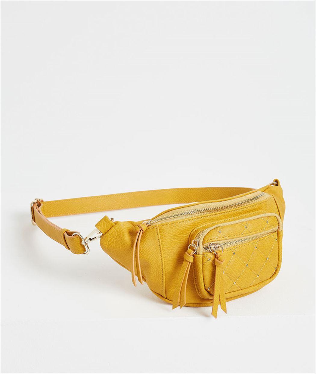 Sac banane femme jaune avec clous JAUNE