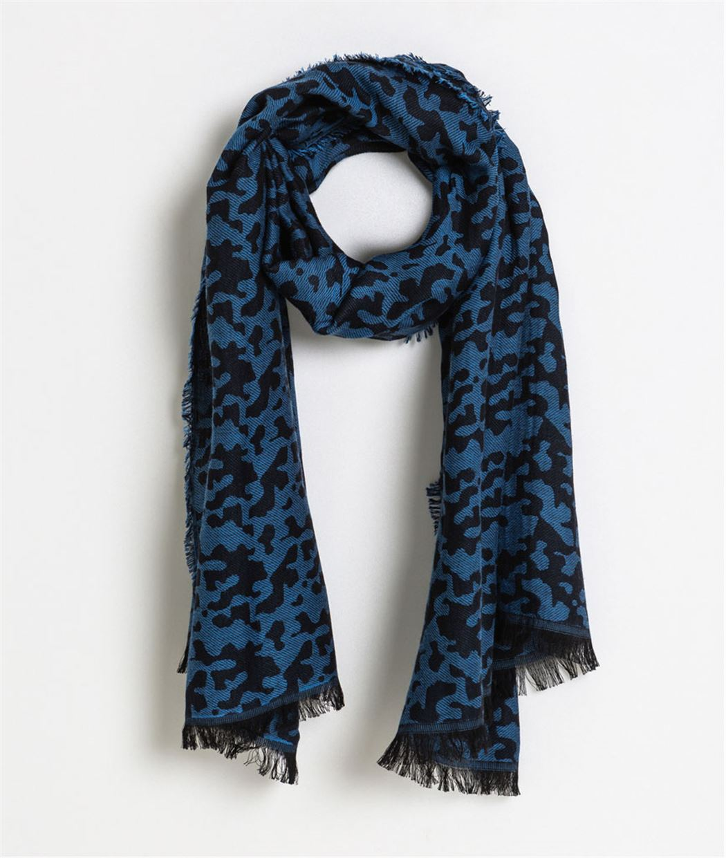 Foulard motif panthère bleu BLEU