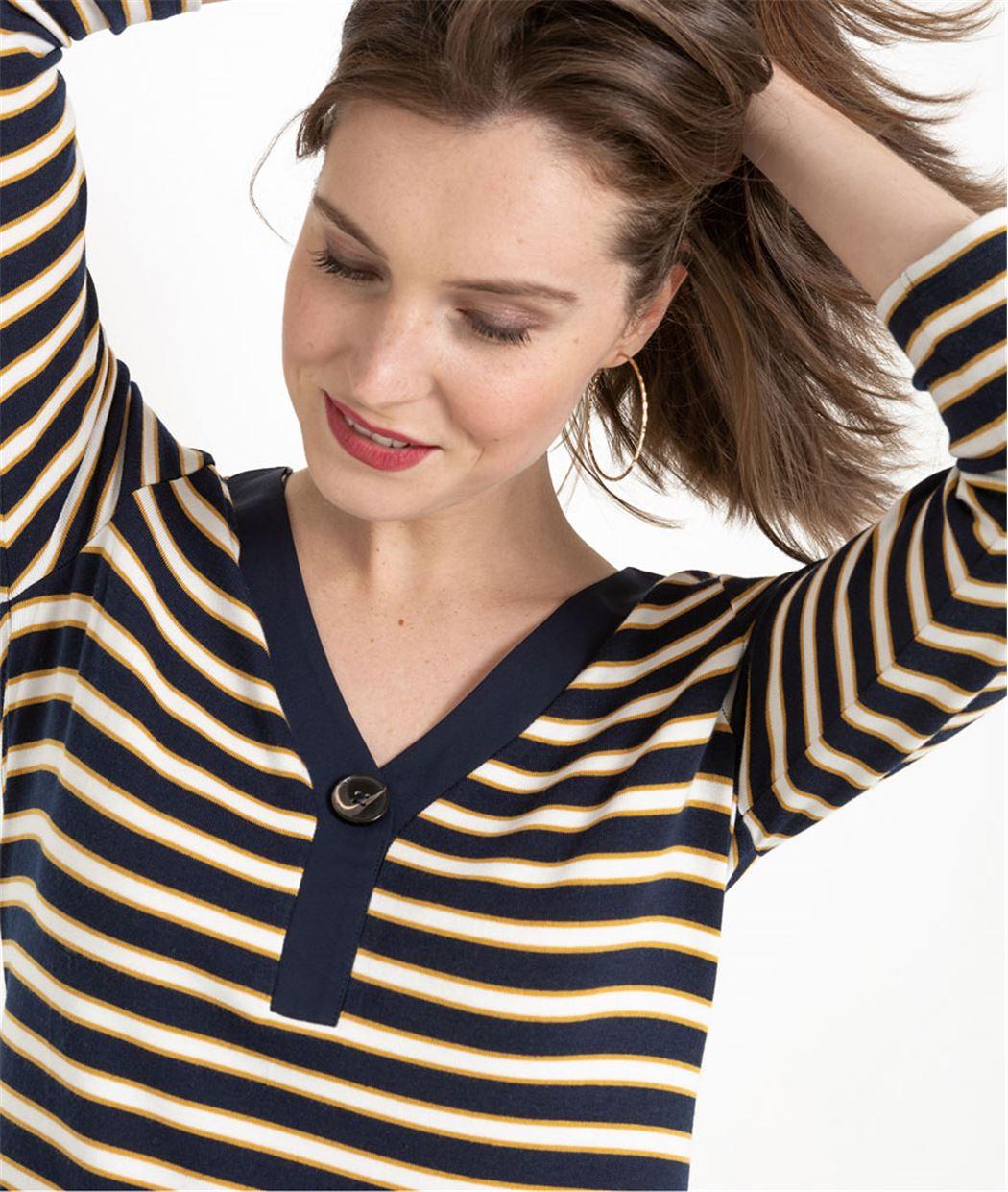 T-shirt marinière femme avec bouton MARINE