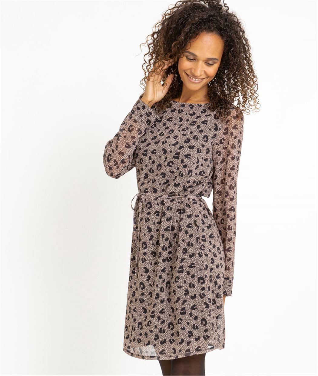 Robe femme fluide imprimé léopard BEIGE
