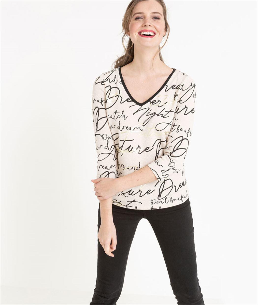 T-shirt col V imprimé écriture BEIGE