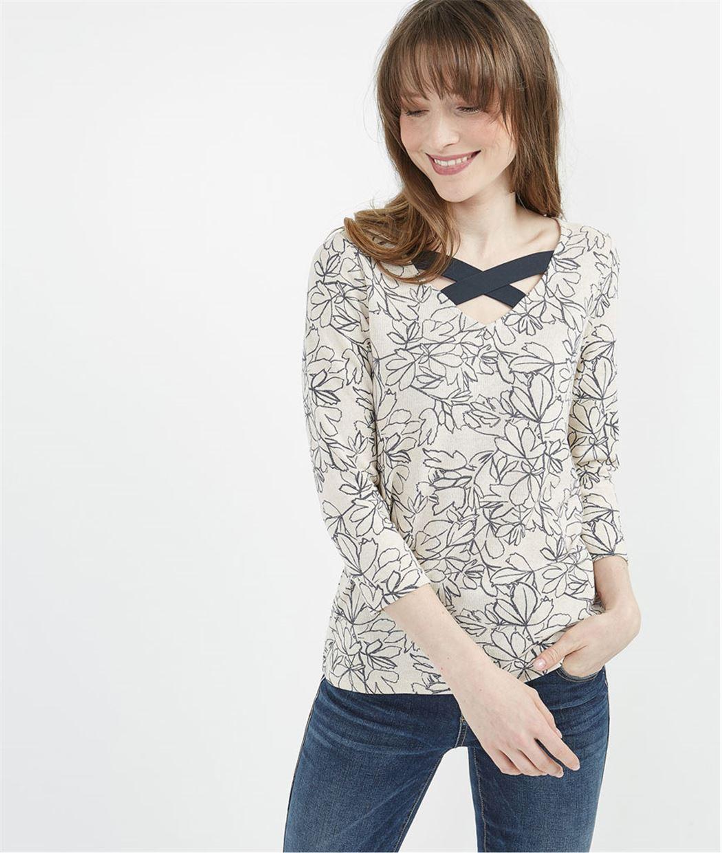 T-shirt imprimé fleurs col croisé BEIGE