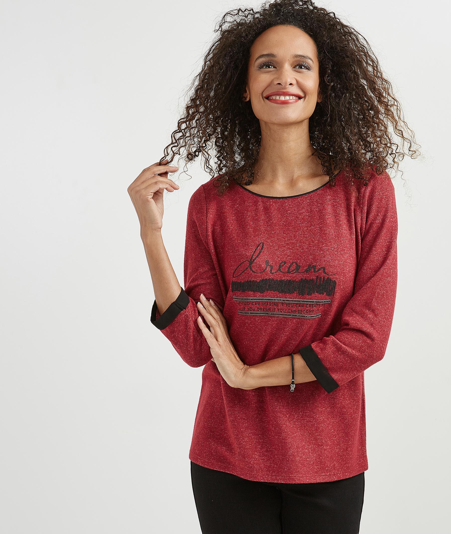 T-shirt femme manches 3/4 à message FUCHSIA