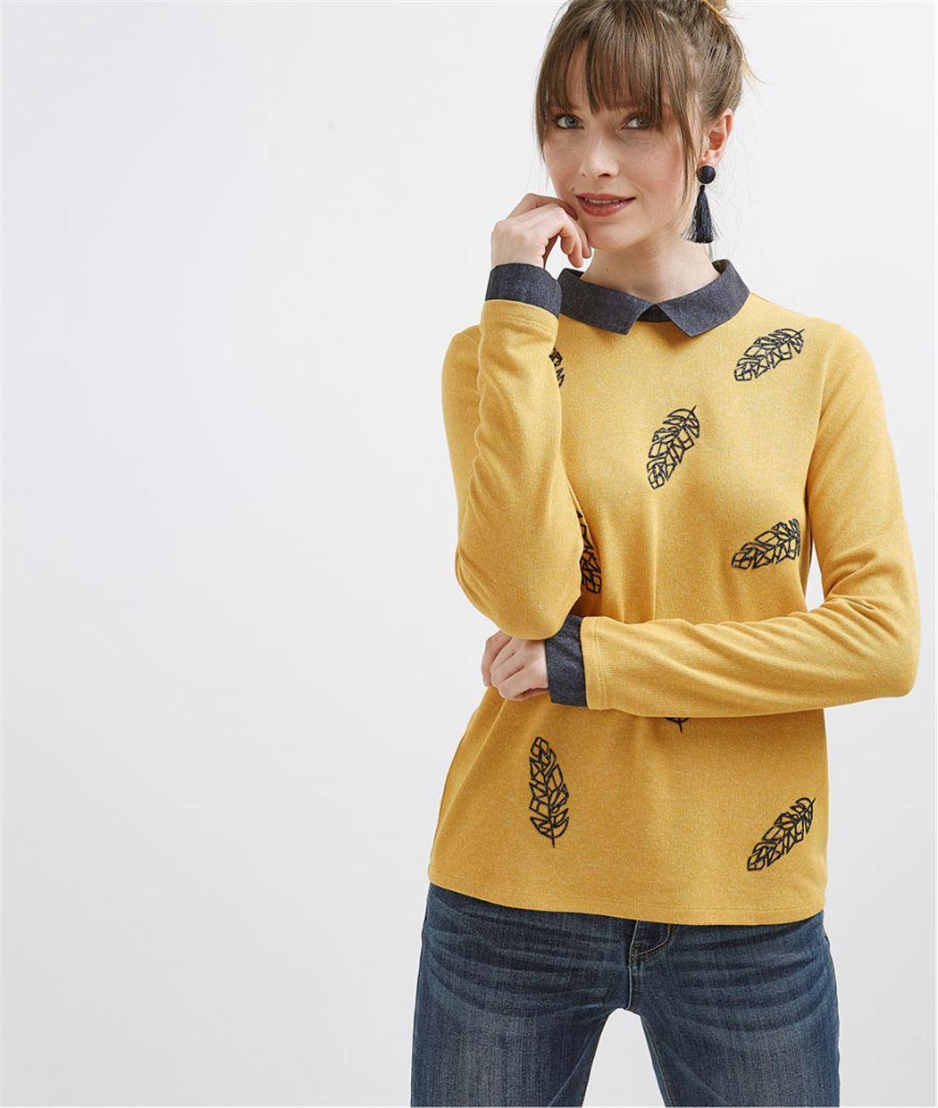 T-shirt femme col chemise motif plumes SAFRAN