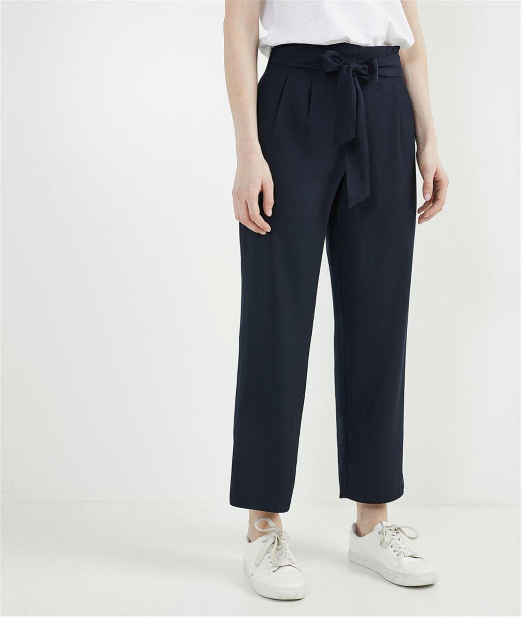 Pantalon femme paper bag MARINE