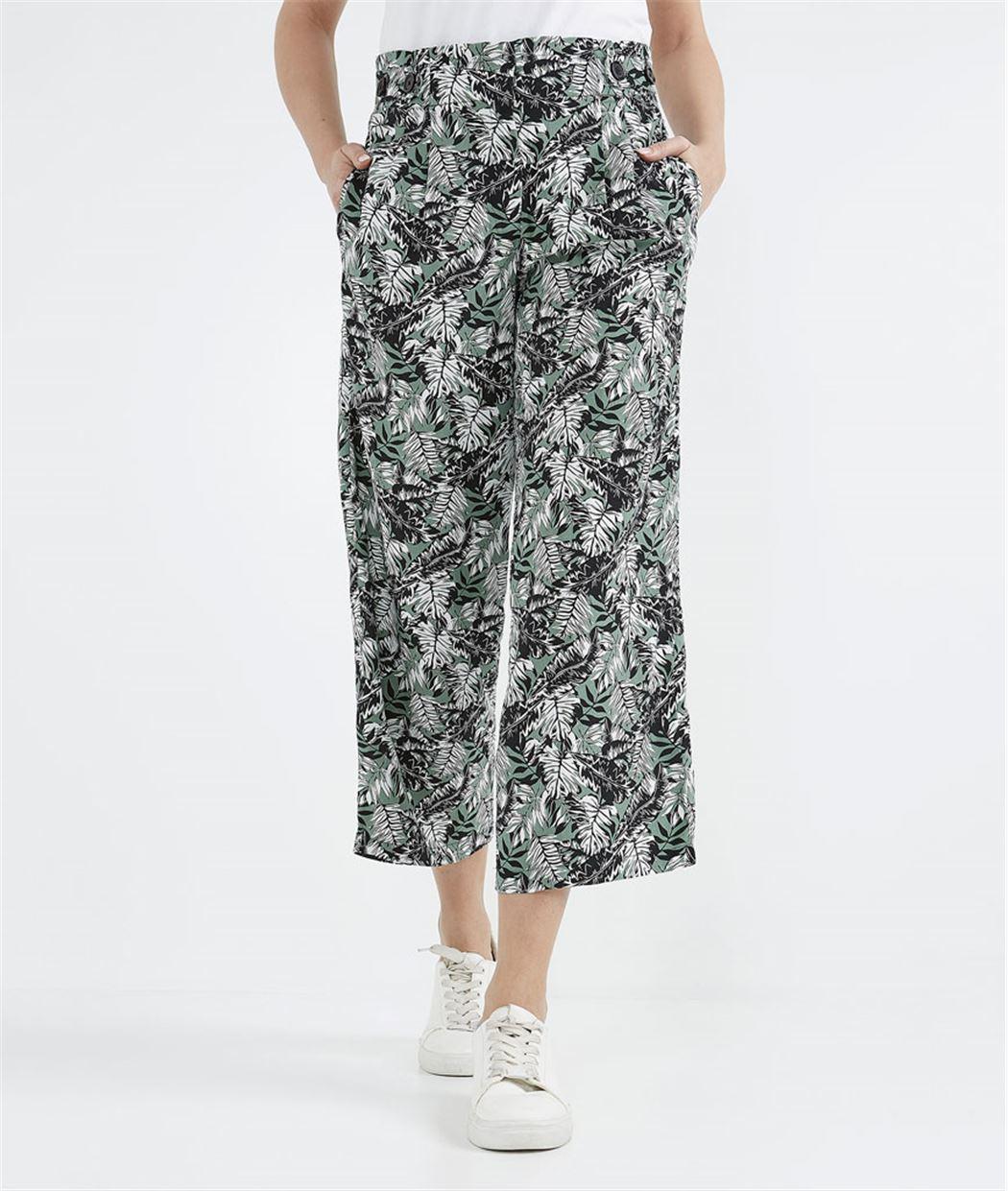 Pantalon femme palazzo fluide KAKI