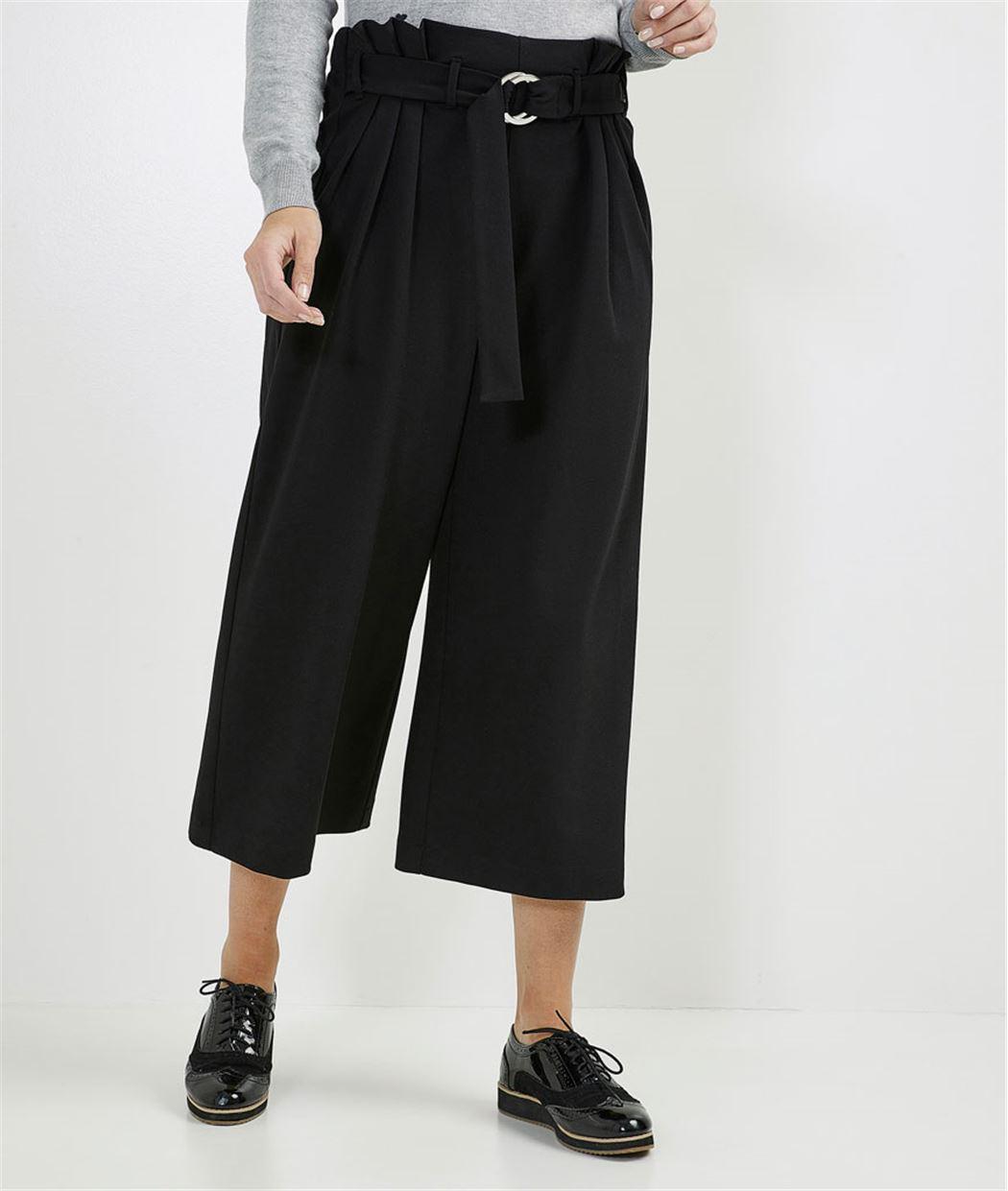 Pantalon femme large paper bag NOIR