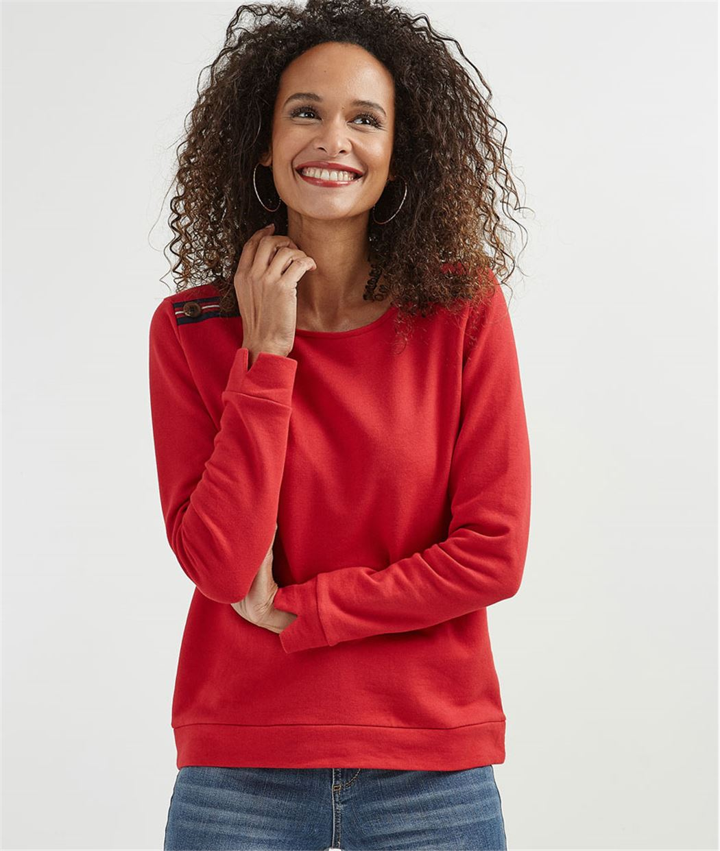 Sweat femme rouge avec boutons épaules ROUGE