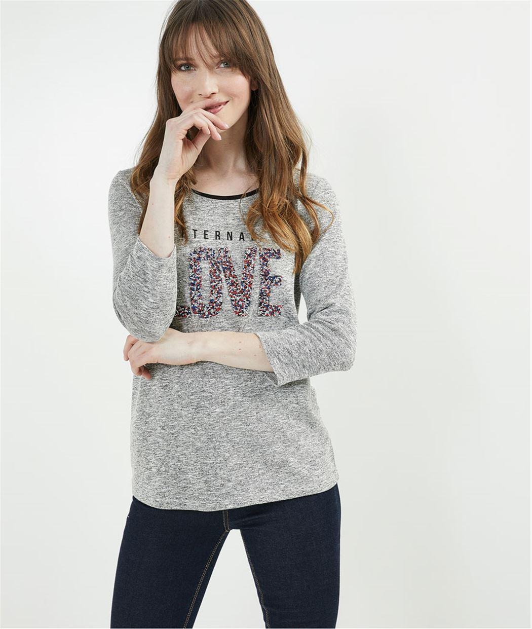 T-shirt gris moucheté et message perles GRIS