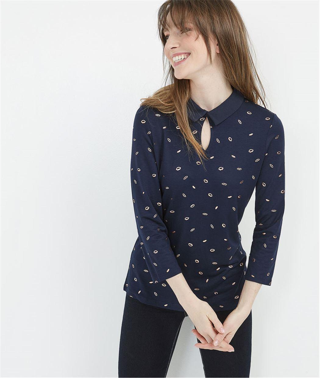 T-shirt imprimé avec col chemise MARINE