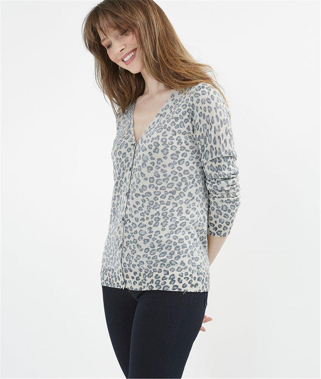 Gilet femme imprimé léopard BEIGE
